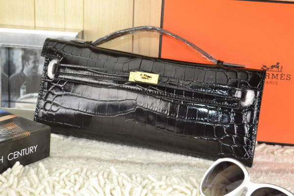 Hermes Kelly Clutch Bag Croco Leather K31 Black