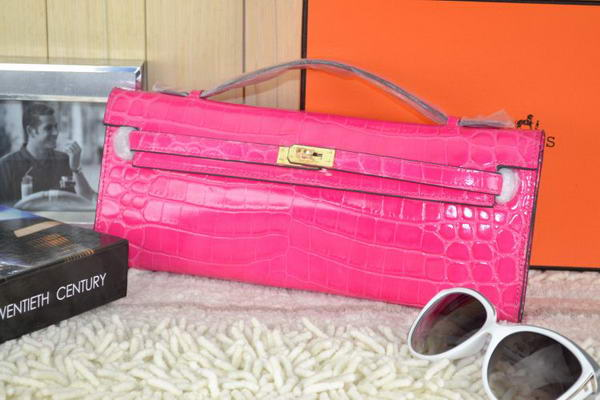 Hermes Kelly Clutch Bag Croco Leather K31 Rose