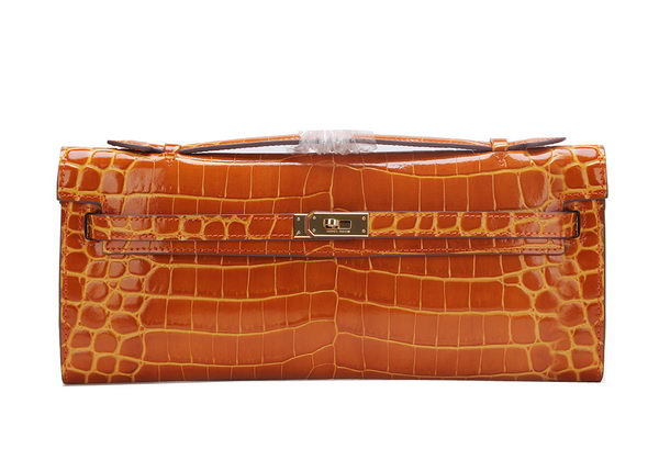 Hermes Kelly Clutch Bag Croco Leather K1002 Brown