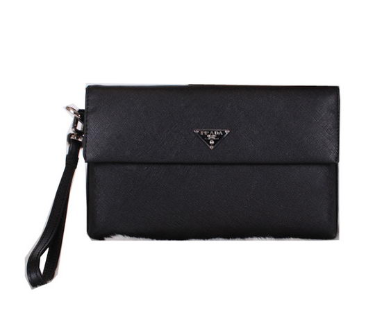 Prada Saffiano Leather Clutch P6004 Black