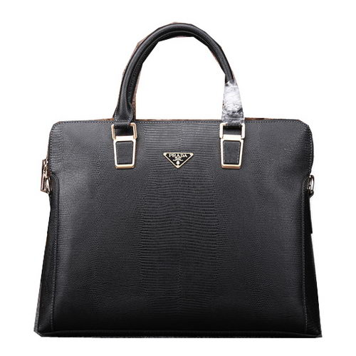 Prada Lizard Leather Briefcase P88071 Black