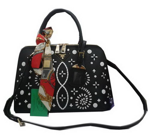 Prada Weave Leather Top Handle Bags BL0837A Black