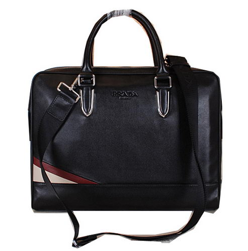 PRADA Smooth Leather Business Briefcase 80725 Black
