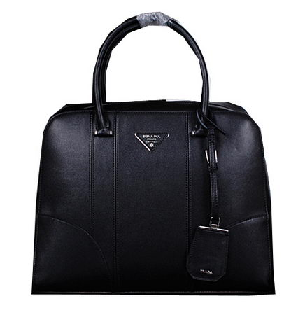 Prada Smooth Leather Top Handle Bags BL8675 Black