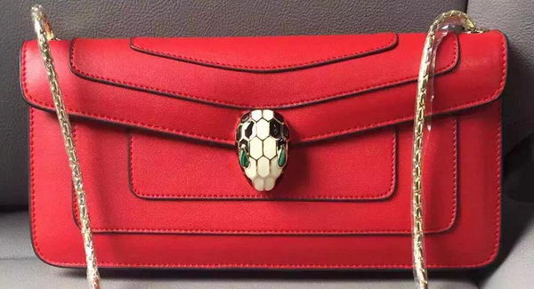 BVLGARI Shoulder Bag Calfskin Leather BG90071 Red