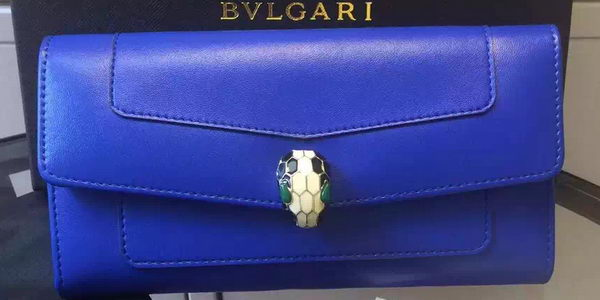 BVLGARI Wallet Pochette in Calf Leather BG0122 Blue