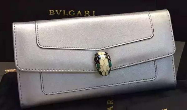 BVLGARI Wallet Pochette in Calf Leather BG0122 Silver