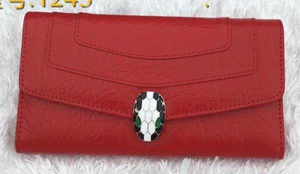 BVLGARI Wallet Pochette in Calf Leather BG1243 Red