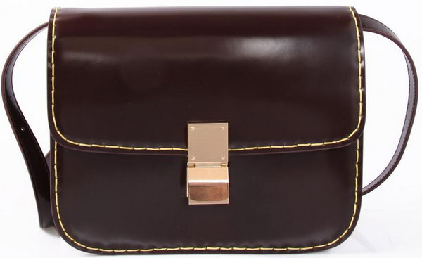 Celine Classic Box Small Flap Bag Iridescent Leather C88007C Burgundy