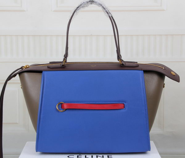 Celine Ring Bag Smooth Calfskin Leather 176203 Royal&Khaki&Maroon