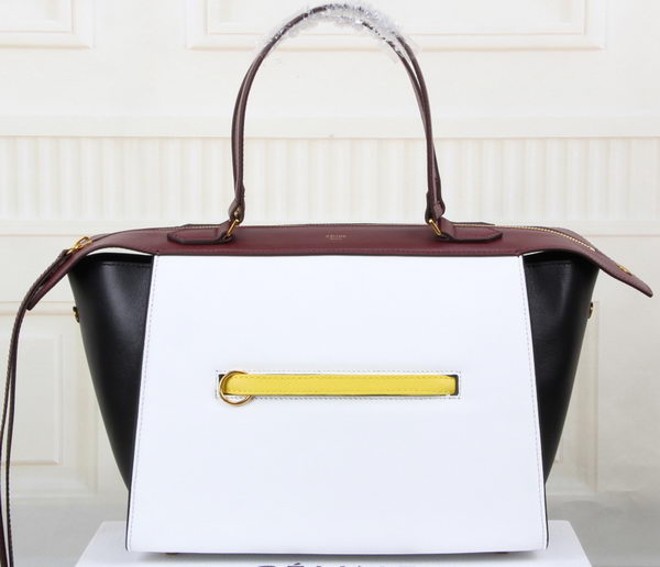 Celine Ring Bag Smooth Calfskin Leather 176203 White&Black&Maroon