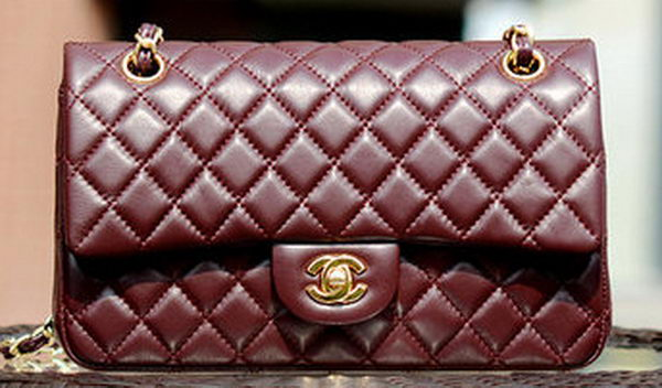 Chanel 2.55 Series Flap Bag Burgundy Sheepskin Leather A37586 Gold