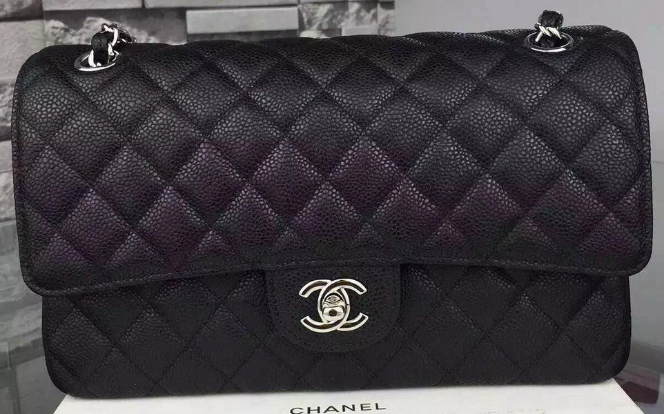 Chanel 2.55 Series Flap Bag Cannage Pattern Leather CF8024 Black