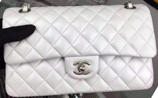 Chanel 2.55 Series Flap Bag OffWhite Sheepskin Leather A06375 Silver