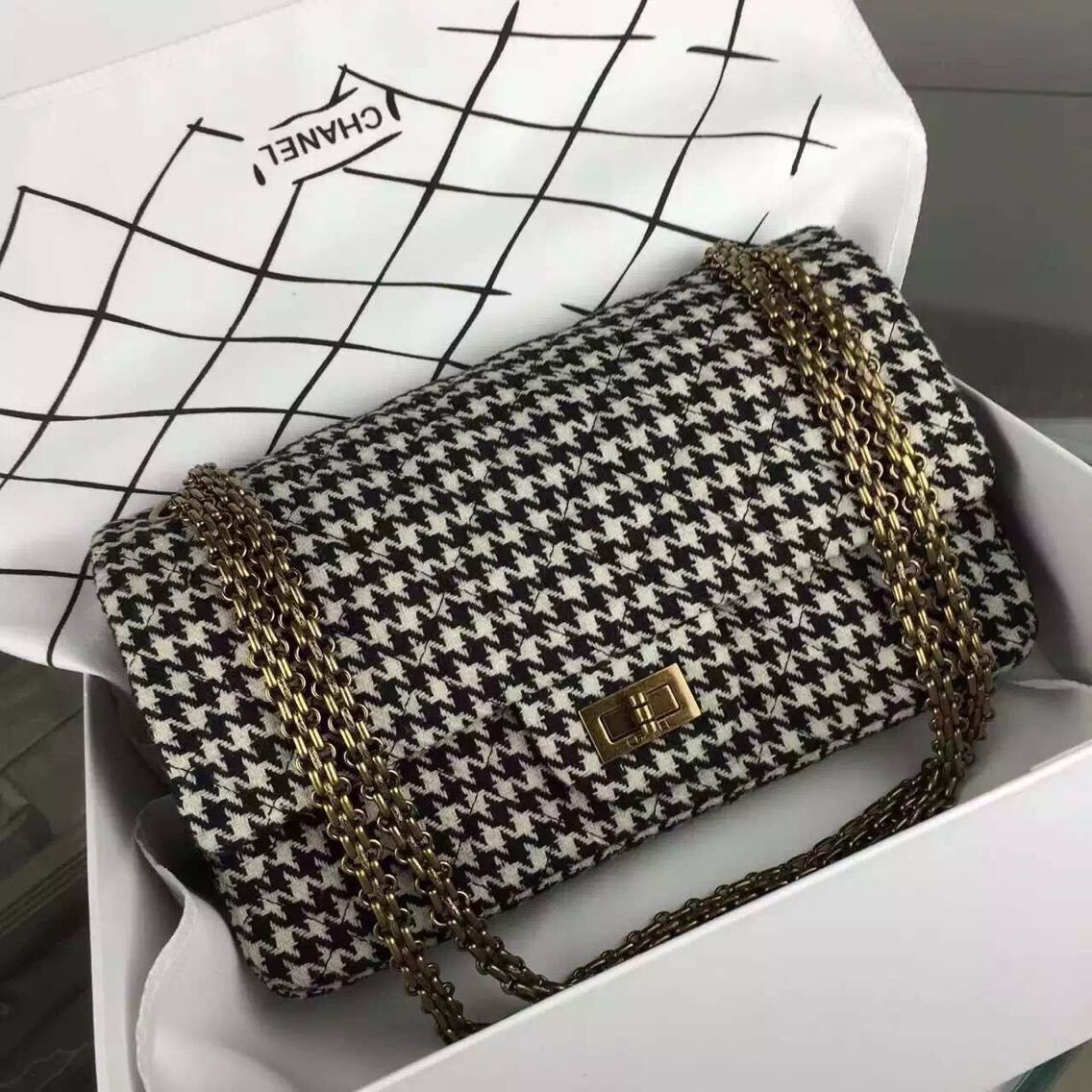 Chanel 2.55 Series Flap Bag Original Fabric A1112 White Grid