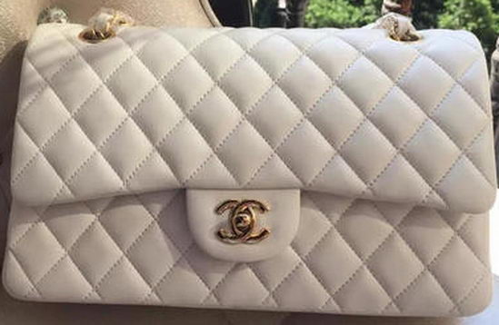Chanel 2.55 Series Flap Bag White Original Leather A01112 Gold