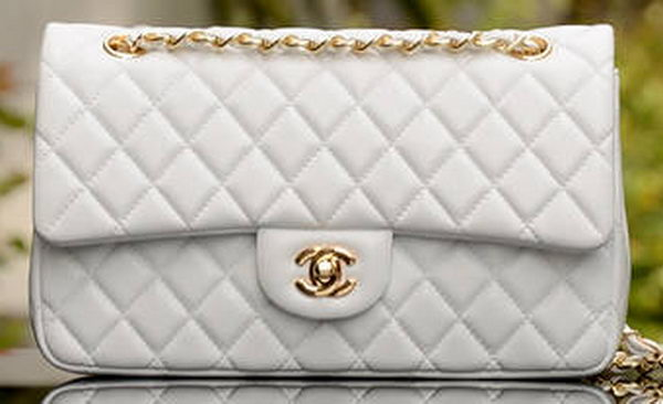 Chanel 2.55 Series Flap Bag White Sheepskin Leather A37586 Gold