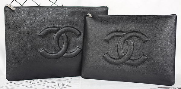 Chanel Cannage Pattern Leather Clutch A69253 Black
