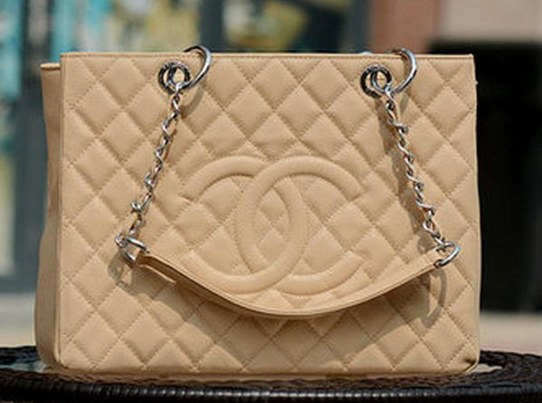 Chanel Classic Coco Bag Apricot GST Cannage Pattern A50995 Silver