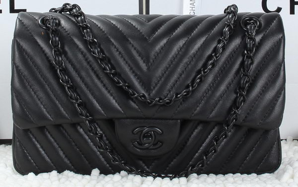 Chanel Classic Flap Bag Lambskin Chevron Quilting A01112 Black
