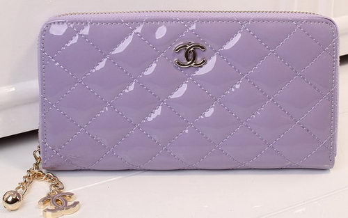 Chanel Matelasse Patent Leather Zip Around Wallet A33816 Lavender