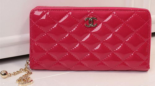 Chanel Matelasse Patent Leather Zip Around Wallet A33816 Rose