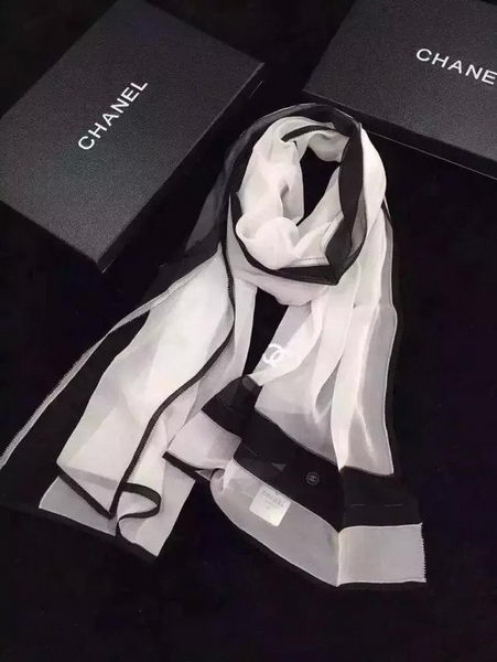 Chanel Scarf Silk CH070 Black