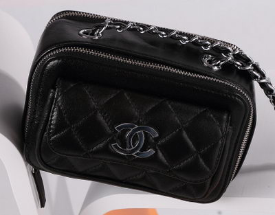 Chanel Small Camera Case Lambskin Leather A94206 Black