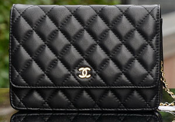 Chanel mini Flap Bag Black Sheepskin Leather A33814 Gold