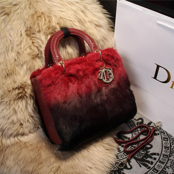 Dior Small Diorissimo Bag Cony Hair D2016 Red&Black