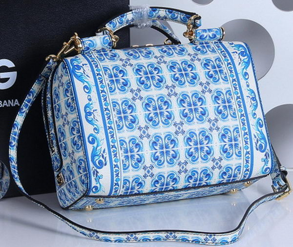 Dolce & Gabbana MAJOLICA Print Butterfly Leather Bag BG4152 Blue