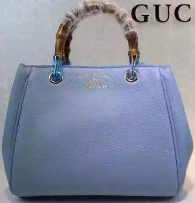 Gucci Bamboo Shopper mini Leather Top Handle Bag 368823 SkyBlue