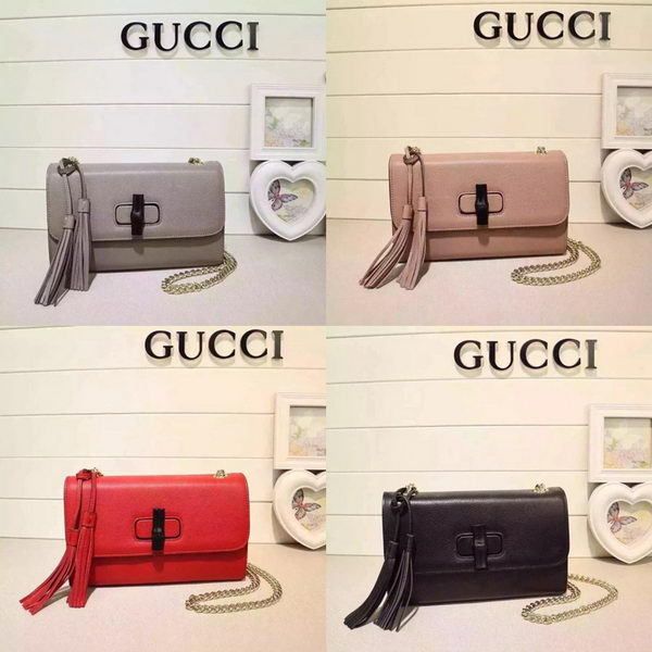 Gucci Miss Bamboo Leather Shoulder Bag 387611