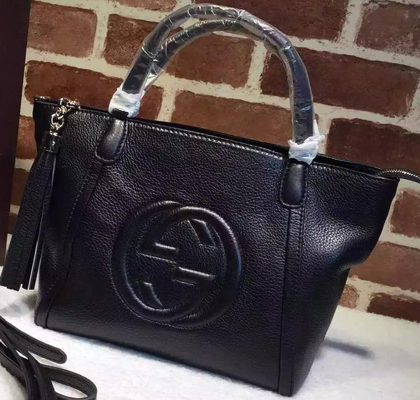 Gucci Soho Original Leather Top Handle Bags 369176 Black