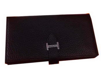 Hermes Bearn Japonaise Grainy Leather Wallet H8622W Black