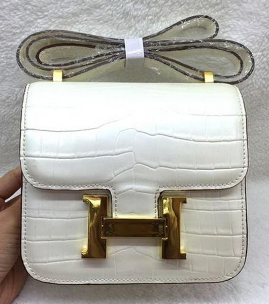 Hermes Constance Bag Croco Leather H3326 White
