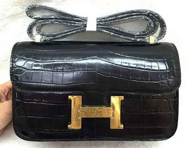 Hermes Constance Bag Croco Leather H3327 Black
