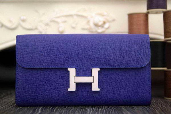 Hermes Constance Long Wallets Original Leather HA909 Dark Blue