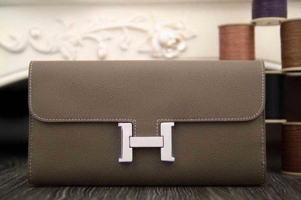 Hermes Constance Long Wallets Original Leather HA909 Grey