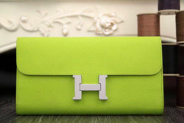 Hermes Constance Long Wallets Original Leather HA909 Light Green