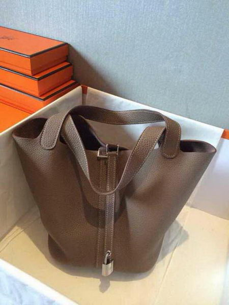 Hermes Picotin Lock 22cm Bags Litchi Leather HPT22 Grey