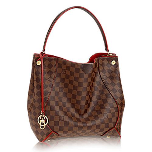 Louis Vuitton Damier Ebene Canvas Caissa Hobo N41555 Cherry
