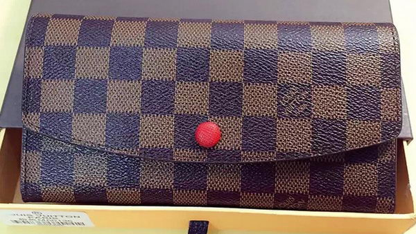 Louis Vuitton Damier Ebene Canvas Emilie Wallet Rouge M60136 Red