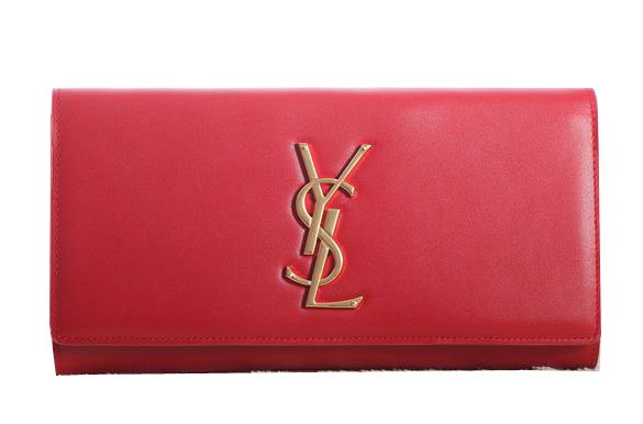 Saint Laurent Classic Monogramme Clutch Original Leather Y5486 Red