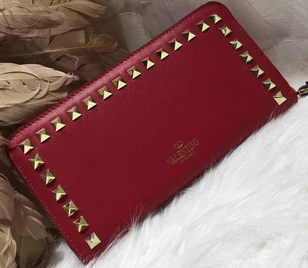 Valentino ROCKSTUD Continental Zipped Wallet VG027 Red