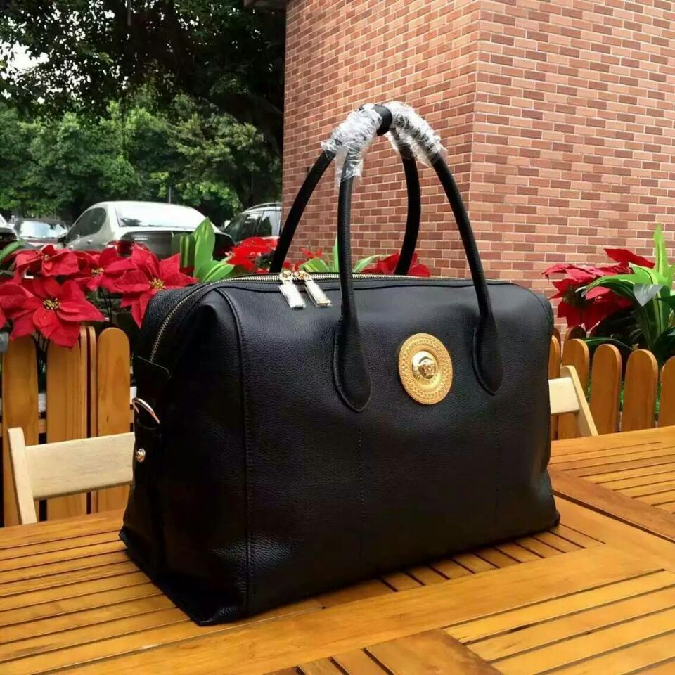Versace Large Boston Bags Original Leather V9122 Black