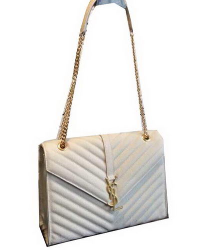 YSL Classic Monogramme Flap Bag Cannage Pattern 311224 White