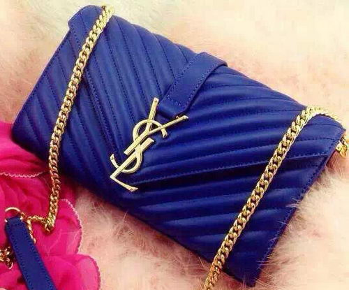 YSL Classic Monogramme Flap Bag Nappa Leather Y33210 Blue