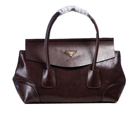 Prada Snake Leather Tote Bag P1168 Burgundy