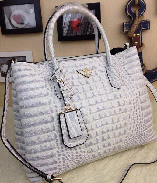 Prada Croco Leather Tote Bag BN2756 OffWhite